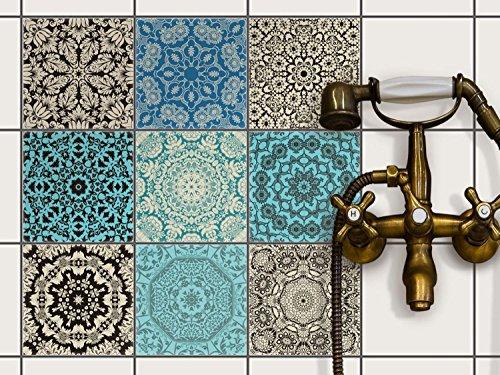 Fliesenaufkleber - CREATISTO Fliesenfolie u. Mosaikfliesen | Fliesen-Sticker Folie Aufkleber für Badezimmer Deko - Folie für Badezimmer-Gestaltung | 15x15 cm - Motiv Marokkanisch - 27 Stück