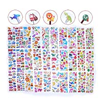 Paizizi 3D Puffy Cartoon Reward Stickers for Children Kids Teachers Include Fruit Dinosaur Car Animal Fish 500+ Cute Stickers(30 Sheets)