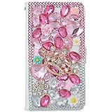 spritech (TM) PU Leder Wallet Case 3D Handmade Bling Lila Kristall Design Blume Schmetterling verziert SIM Smartphone geschützt zusammenklappbar weiß Schutzhülle mit Kartenfächer, pink,crown, Samsung Galaxy Mega 6.3 i9200