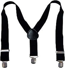 Eccellente Solid Black Suspenders for Kids(Boys|Girls)-0-6Years