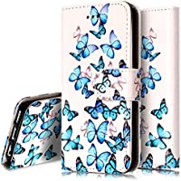 iPhone 5C Case,Flip Case for iPhone 5C - Ukayfe iPhone 5C Wallet Case - Retro Elegant White Blue Butterfly Design PU Leather Flip Protective Case Cover with Stand Folio Flip Leather Case for iPhone 5C - Blue Butterfly