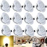 Hengda® 12 x 7W Warmweiss 2800-3200k LED Decken Einbauleuchte Einbaustrahler Set 230V Spot Lampen
