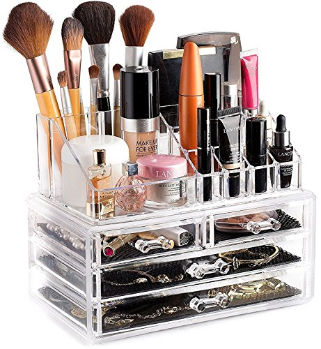 FLIX-KART Acrylic 4 Drawer Home Makeup Cosmetic Conceal Lipstick Stand Eye shadow Brushes Jewellery Organizer in One Place Storage
