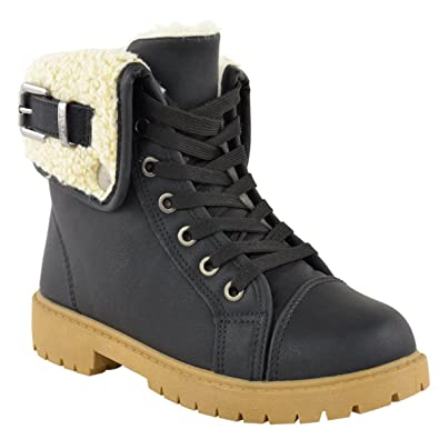 WOMENS LADIES SNOW WINTER FUR LINED ANKLE BOOTS FLAT LOW HEEL GRIP ...