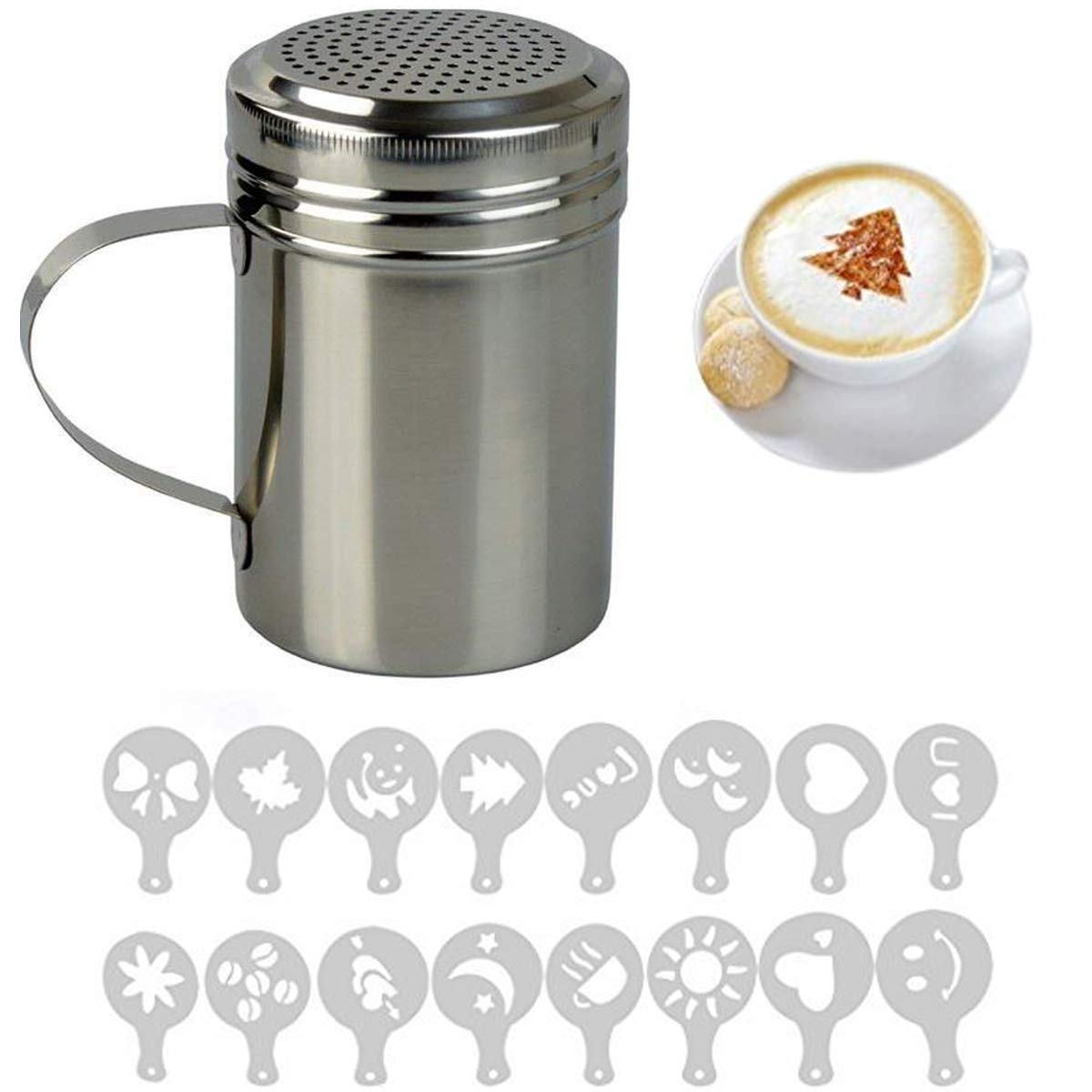 Fineway-Stainless-Steel-Chocolate-Shaker-Duster-with-16-Cappuccino-Coffee-Barista-Stencils