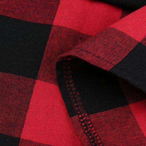 Camicia a maniche lunghe, Rcool Donna Casual Parka Felpa a maniche lunghe in tessuto patchwork Rosso