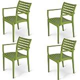 Supreme Empire Plastic Chair (Mehandi Green, Set of 4)