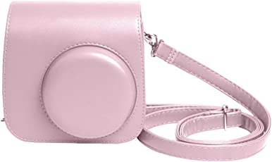 Shopizone Classic Vintage PU Leather Compact Case with Strap for Fujifilm Instax Mini 9/8/8+ (Baby Pink)