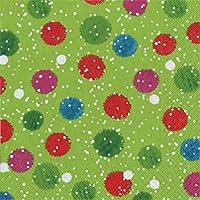 Caspari–Tovaglioli di Pom innevato con pupazzo di neve, 20, 20pezzi, colore: verde