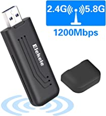Elekele WLAN Adapter PC Wifi Adapter Elegantes Design 1200Mbps mit 5dBi Antenna Wireless Adapter (5.8G/867Mbps + 2.4G/300Mbps) Kleine Wifi-Empfänger für Desktop/PC/Laptop/Notebook