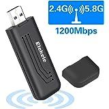 Elekele® Mini WLAN Stick 1200Mbit/s, 2dBi Dualband(5.8G/866Mbps + 2.4G/300Mbps) Wireless USB WiFi Adapter, 802.11 ac/n/g/b/a USB WiFi Dongle für Windows 10/8/7/XP/Vista/MAC OS X/Linux 2.6X