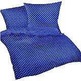 Heubergshop® 2-teilige Seersucker Bettwäsche 135x200cm und 80x80cm - Anker Meer Wasser in Blau und Weiß - Bettgarnitur aus 100% Baumwolle, bügelfrei (S-389-2)