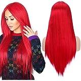 Parrucca cosplay lunga diritta per le donne Alta qualità Moda rossa 22 pollici parrucca sintetica parte centrale del…