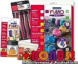 Starter Modellierset Staedtler 8023 02 Fimo soft 24 Materialpackung + Werkzeuge, Glanzlack und exklusiver Bonus-Beigabe