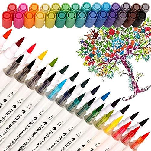 Aquarell-Pinsel-Marker mit doppelter Spitze, ungiftig, auf Wasserbasis, Kalligraphie-Stifte für Erwachsene und Kinder, Malbuch, Skizzieren, Zeichnen, Bullet-Tagebuch, 28 verschiedene Farben