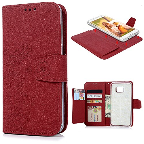 S7 Edge Case MAXFE.CO Premium PU Leather Wallet Case Detachable Magnetic Stand Flip Case [Flower] Pattern Embossed for Samsung Galaxy S7 Edge Additional Card Holder Full Protection Case - Red Test