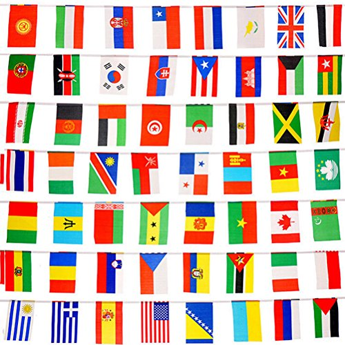 snnplapla 100Länder Flaggen 82FT International Flaggen Wimpelkette Banner für Party Dekorationen, Olympischen Spiele, Grand Öffnung, Bar, Sport Clubs, Schule Ereignisse, Kulturelle Studien und mehr