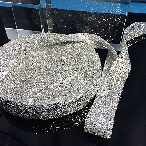 Yalulu 1 Yard DIY Silber Acrylrhinestone Strass Diamant Band für Hochzeitstorten, Brautkleid...
