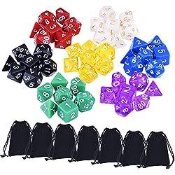49 Piezas Dados Poliédricos de Multicolor Dados de Juego para Dungeons y Dragons DND MTG RPG con 7 Bolsas Negras, 7 Sets de D20, D12, 2 D10 (00-90 y 0-9), D8, D6 y D4