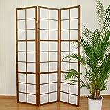 Homestyle4u 273, Paravent Raumteiler 3 teilig, Holz Braun Tabak, Reispapier Weiß, Höhe 175 cm