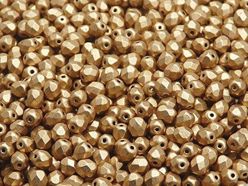 100pc Ceco Perle di sfaccettato vetro, Fire-Polished Beads rotondo 4mm Aztec Gold (Crystal Bronze Pale Gold)