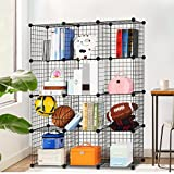 from LANGRIA LANGRIA 12-Cube DIY Wire Grid Bookcase, Multi-Use Modular Storage Shelving Rack, Open Organiser Closet Cabinet for Books, Toys, Clothes, Tools, Max Capacity 20kg per Cube, Black