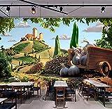 Papel pintado de los murales 3D de vegetales pintados para los mercados de restaurantes Tienda de frutas Mural fotográfico 3D Mural de pared Mural de papel de pared 3D, 400 × 280 cm