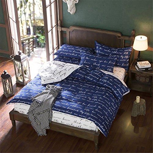 ZHIMIAN Bettwäsche Wendbar Langlebig Leicht Love Letter Print Bettbezug Set für Jugendliche Erwachsene Bequem für Schlafzimmer Zimmer, Chic Betten Sets Twin Blau -