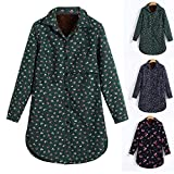 Felicove Winter Warmer Bluse, Baumwoll Leinenmantel Frauen Mantel Plus Samt Outcoat Jacke Drucken Mantel Damen Parka Wintermantel Übergröße Bluse Baumwolle Outdoorjacke Beiläufig Steppjacke