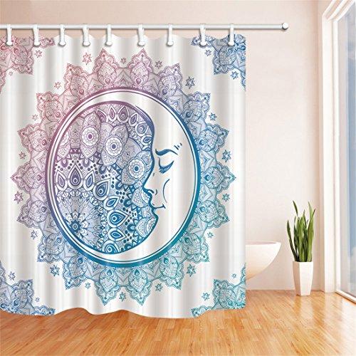 duschvorhang runddusche Duschvorhang von Gwell mit Mandalamotiv für die Badewanne, aus Polyester, formbeständiger Duschvorhang, Polyester, Design 5, 180cm*210cm= 70