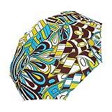 Ieararfre Colorful Doodle Textur Kompakte Reise Regenschirm Winddicht Wasserdicht Auto-Öffnen und Schließen-Knopf