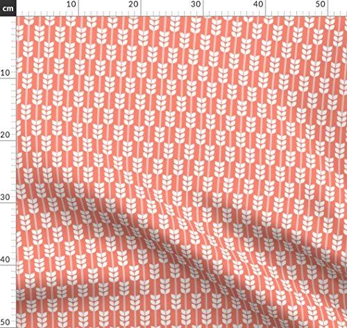Weizen, Geometrisch, Botanisch, Pflanze, Korn Stoffe - Individuell Bedruckt von Spoonflower - Design von Carabaradesigns Gedruckt auf Bio Baumwoll Interlock-Jersey -