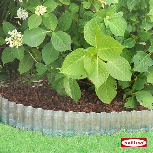 Bellissa Bordure vague galvanisé 500 x 14 cm Bordure de limitation de pelouse de jardin monde Verrou Berger