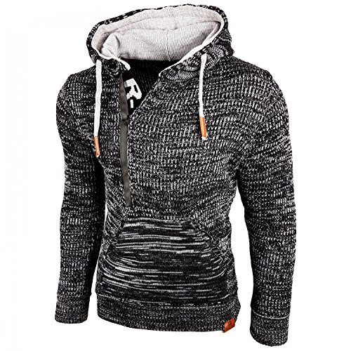 Baxboy Kapuzenjacke Herren Winter Top Kapuzenpullover Reißverschluss Pulli Sweatshirt Jacke RN-13277 Neu, Größe:XL, Farbe:Schwarz/Grau