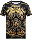 Pizoff Unisex Sommer leicht bunt bequem cool Digital Print T Shirts mit Goldketten Palast still 3D Muster Y1800-02-L