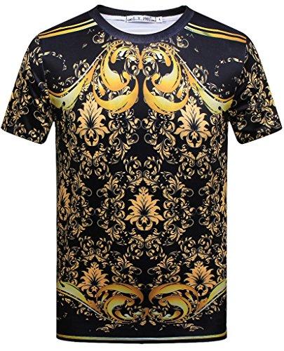 Pizoff Unisex Sommer leicht bunt bequem cool Digital Print T Shirts mit Goldketten Palast still 3D Muster Y1800-02-S