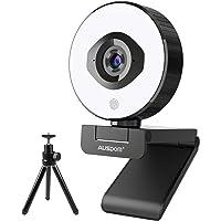 Streamen Sie Webcam 1080P 60fps, AUSDOM AF660 Webkamera Gaming mit Zwei Mikrofonen und Ringlicht, FHD Autofokus…