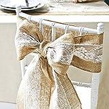 Makhry 4 piezas de seda de cordón de arpillera Set Set de arpillera tabla de correa Sash Sash escudos de mesa...