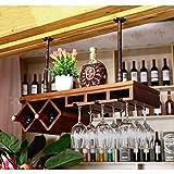 Z&YQMassivholz Weinregal Suspension Bar Theke Wohnzimmer Küche Weinglas Rack, B, 80cm