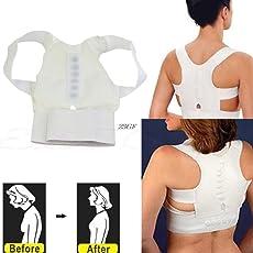 Lepakshi L: 2018 Magnetic Therapy Posture Pain Corrector For Men Women Body Back Belt Brace Straightener Shoulder Support Aug15_45