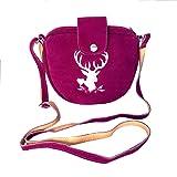 Kleine Trachtentasche Dirndltasche Umhängetasche mit Trachten-Stickerei Leder pink