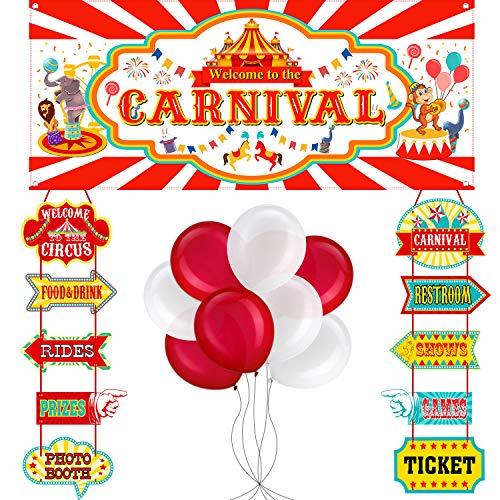 56 Stücke Zirkus Karneval Party Dekoration Satz Zirkus Thema Karneval Banner Karneval Ausschnitte und Zirkus Farbe Luftballons Zirkus Karneval Party Lieferanten und Gefälligkeiten