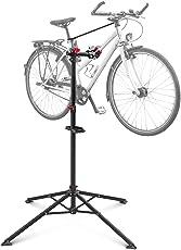 Relaxdays Fahrradmontageständer Reparaturständer mit Werkzeugablage – klappbar & höhenverstellbar – schwarzer Montageständer vierbeinig stabil mit festem Stand – Stahl pulverbeschichtet