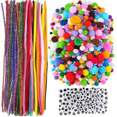800 Stück Bastelbedarf, 500 Stück Soft Pom Poms, 100 Stück 20 Farben Chenille Vorbauten und 200 Stück 3 Größe Wiggle Googly Augen