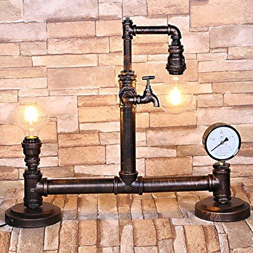 XSPWXN Weinlese-industrielle Retro- Rost-Eisen-Wasser-Rohr-Tabellen-Licht-antike Steampunk E27 einzelner Hauptschreibtisch-Akzent-Lampe mit Uhr für Wohnzimmer-Uhr-Geschäfts-Pub-Schreibtisch-Licht -
