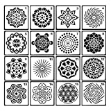 Pawaca 16PCS Mandala punteggia Stencil Modello-Diversi Motivi DOT Painting Modelli Art Tools for DIY Rocks Stone Wall Art, Tela, mobili in Legno Dipinto