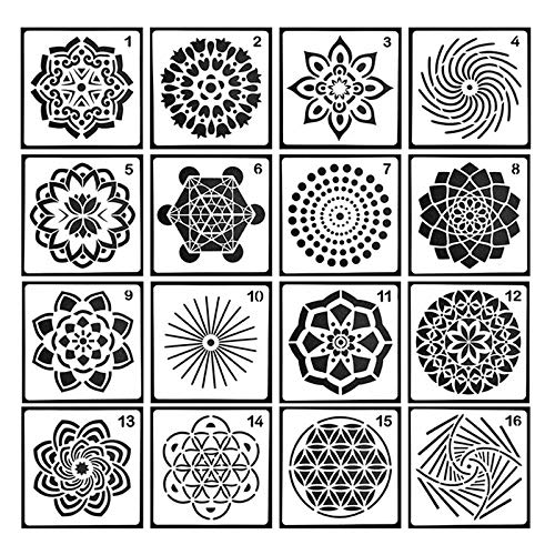 Pawaca 16 Stück Mandala Dotting Schablonen Schablonen - Verschiedene Muster, Punktmalvorlagen, Kunstwerkzeuge für DIY Steine, Wandkunst, Leinwand, Holzmöbel Malerei