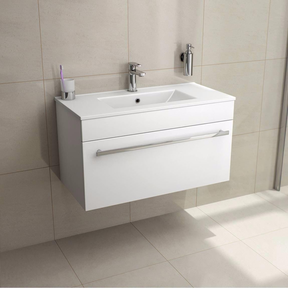 Minimalist gloss white vanity unit 600 800 or 1000mm - Veebath Sphinx 800mm White Gloss Wall Hung Vanity Unit With Ceramic Basin Sink Bathroom Storage Unit Furniture Cabinet Amazon Co Uk Kitchen Home