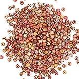 Imprimé en bois, perles, 400pièces mixtes Motif imprimé en bois rond Boule Courroie en bois pour la confection de bijoux Accessoires