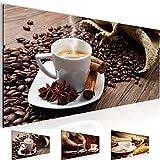 Bilder 100 x 40 cm - Coffee Bild - Vlies Leinwand - Kunstdrucke -Wandbild - XXL Format - mehrere Farben und Größen im Shop - Fertig zum Aufhängen - !!! 100% MADE IN GERMANY !!! - 501812a